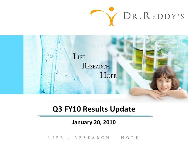 Q3 FY10 Results Update January 20, 2010