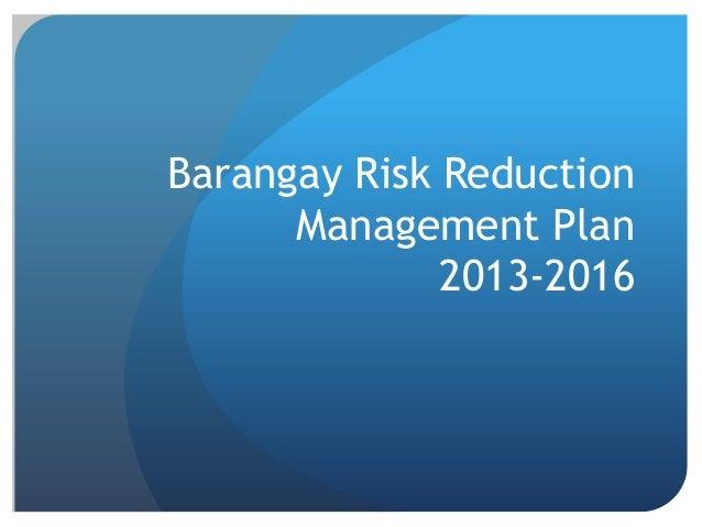 Barangay Risk Reduction Management Plan 2013-2016