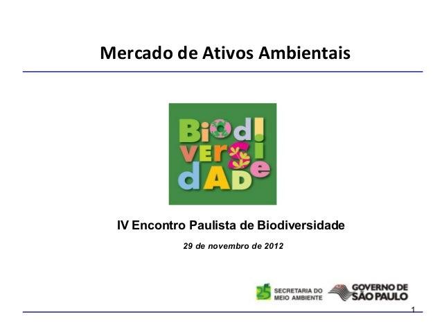Mercado de Ativos Ambientais IV Encontro Paulista de Biodiversidade            29 de novembro de 2012                     ...