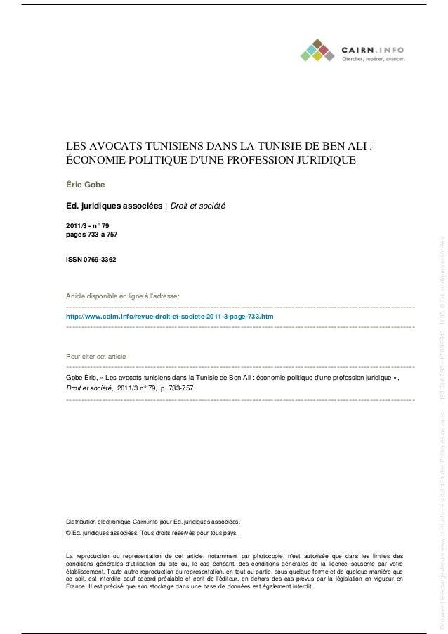 LES AVOCATS TUNISIENS DANS LA TUNISIE DE BEN ALI : ÉCONOMIE POLITIQUE D'UNE PROFESSION JURIDIQUE Éric Gobe Ed. juridiques ...