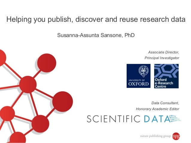 Data Consultant, Honorary Academic Editor Associate Director, Principal Investigator Helping you publish, discover and reu...