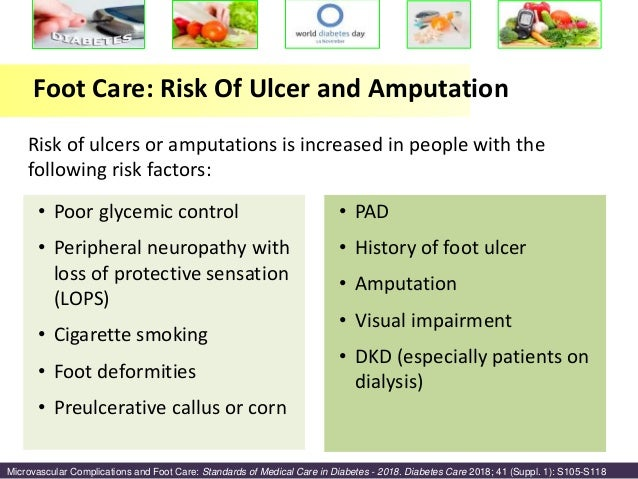 delays in medical care increases risk of complications dramatically Delay between onset of symptoms and seeking physician  complications  onset to 227 in those who sought medical care 2 years after symptoms onset   onset dramatically increases the risk of diabetic foot complications.