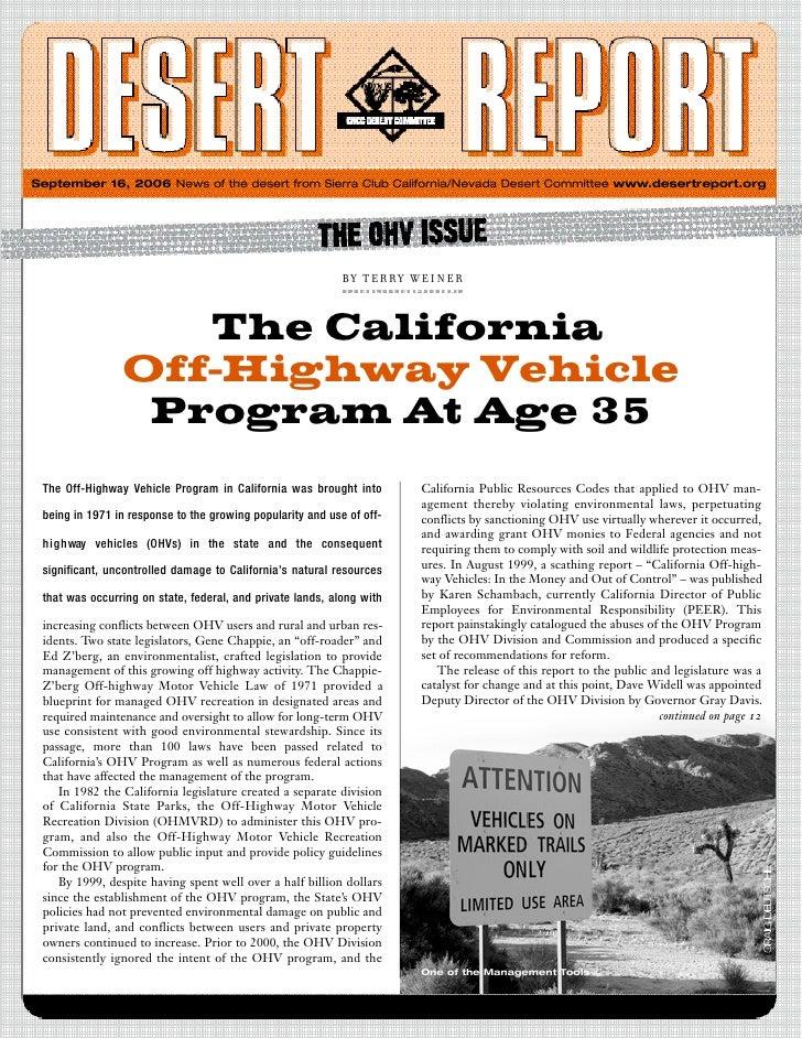 September 16, 2006 News of the desert from Sierra Club California/Nevada Desert Committee www.desertreport.org            ...