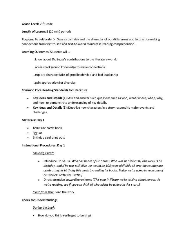 Dr seuss lesson plans for 4th grade