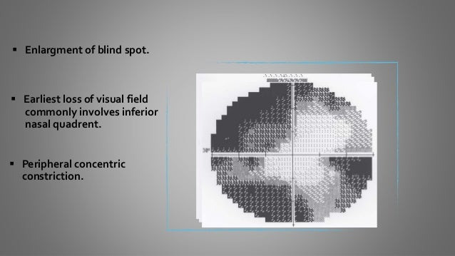  Relative scotoma (first to green and red).  Complete blindness.  In all cases visual field changes should be monitored...