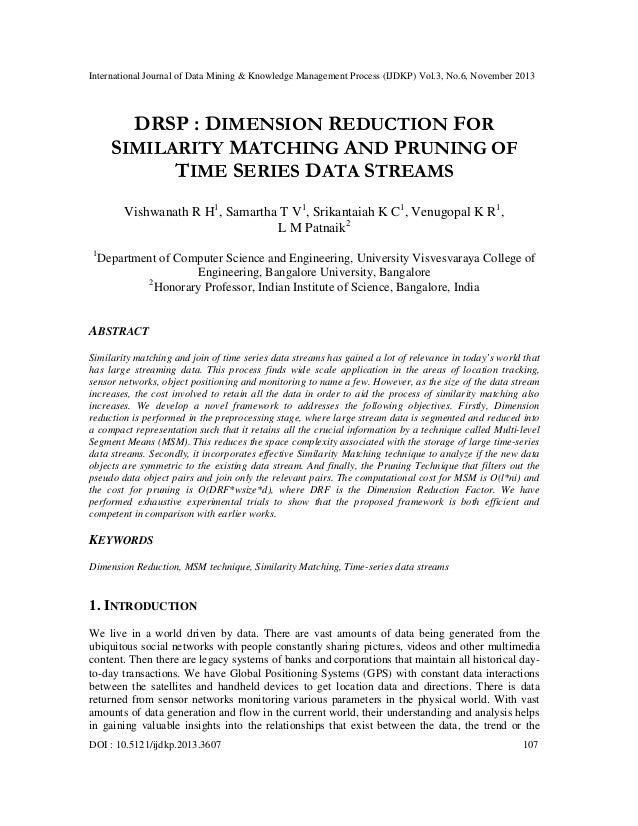 International Journal of Data Mining & Knowledge Management Process (IJDKP) Vol.3, No.6, November 2013  DRSP : DIMENSION R...