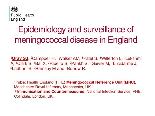 Epidemiology and surveillance of meningococcal disease in England 1Gray SJ, 2Campbell H, 1Walker AM, 1Patel S, 1Willerton ...