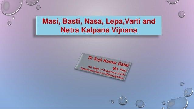 Masi, Basti, Nasa, Lepa,Varti and Netra Kalpana Vijnana