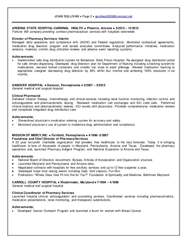 Pharm d resume