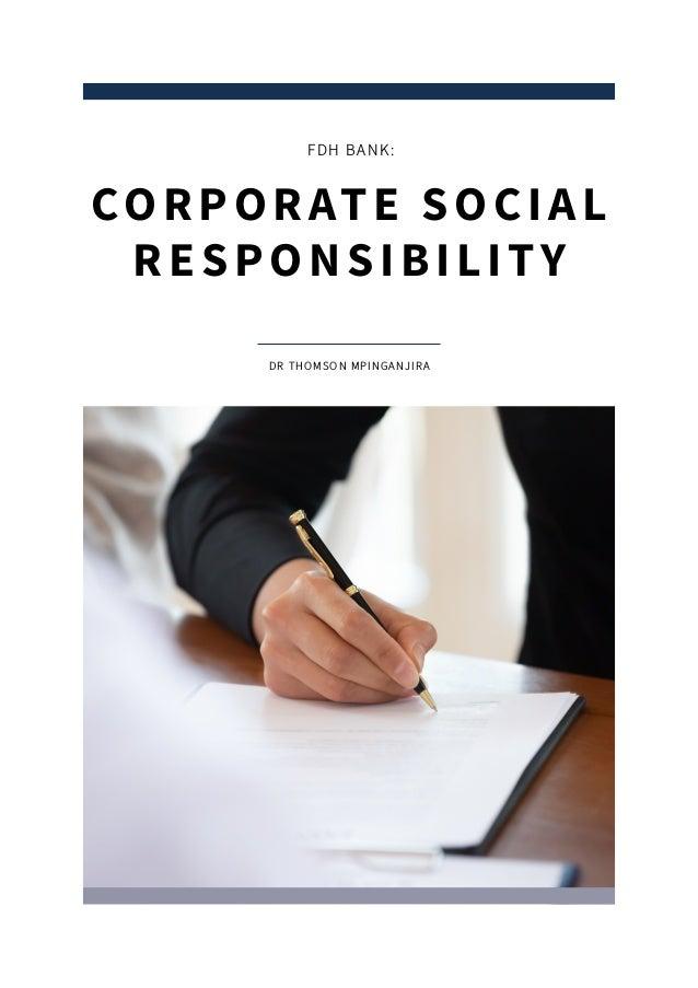 DR THOMSON MPINGANJIRA CORPORATE SOCIAL RESPONSIBILITY FDH BANK: