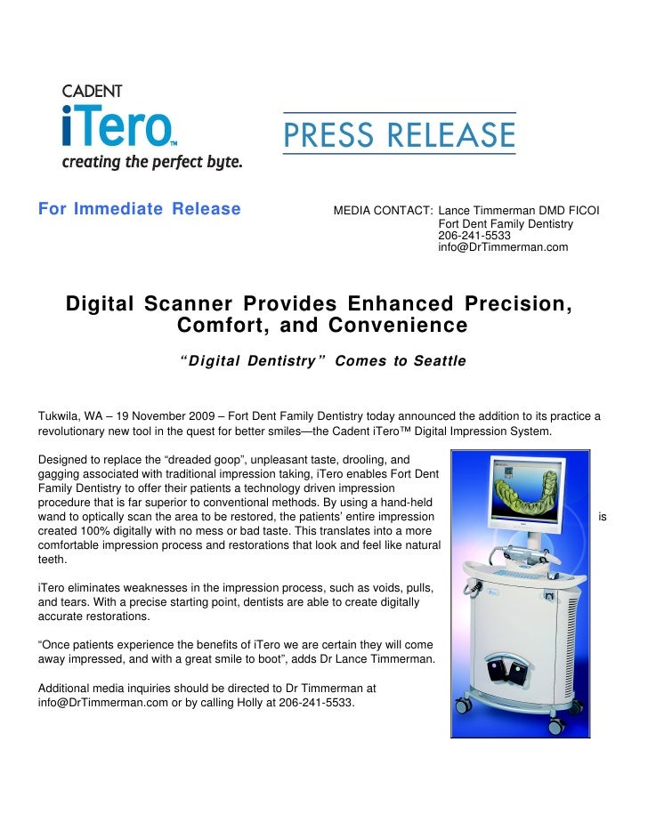 For Immediate Release                                     MEDIA CONTACT: Lance Timmerman DMD FICOI                        ...