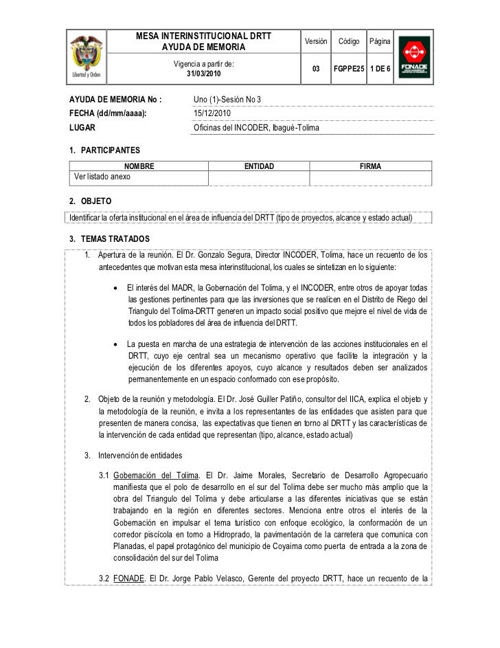 MESA INTERINSTITUCIONAL DRTT                            Versión    Código     Página                           AYUDA DE ME...