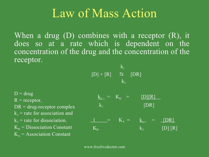 Law of Mass Action <ul><li>When a drug (D) combines with a receptor (R), it does so at a rate which is dependent on the co...