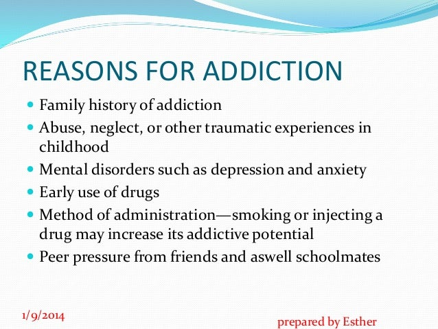 reasons for teenage drug use Substance abuse is the use of drugs, alcohol or chemicals the abuse causes  harm to the user or others be a good listener with your teen a strong  relationship.