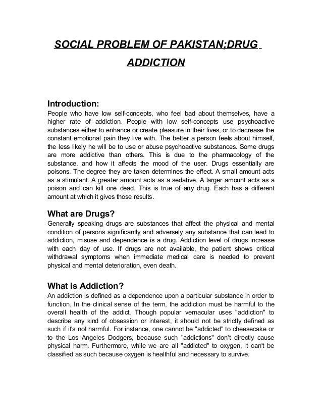 Essay on drugs addiction in pakistan