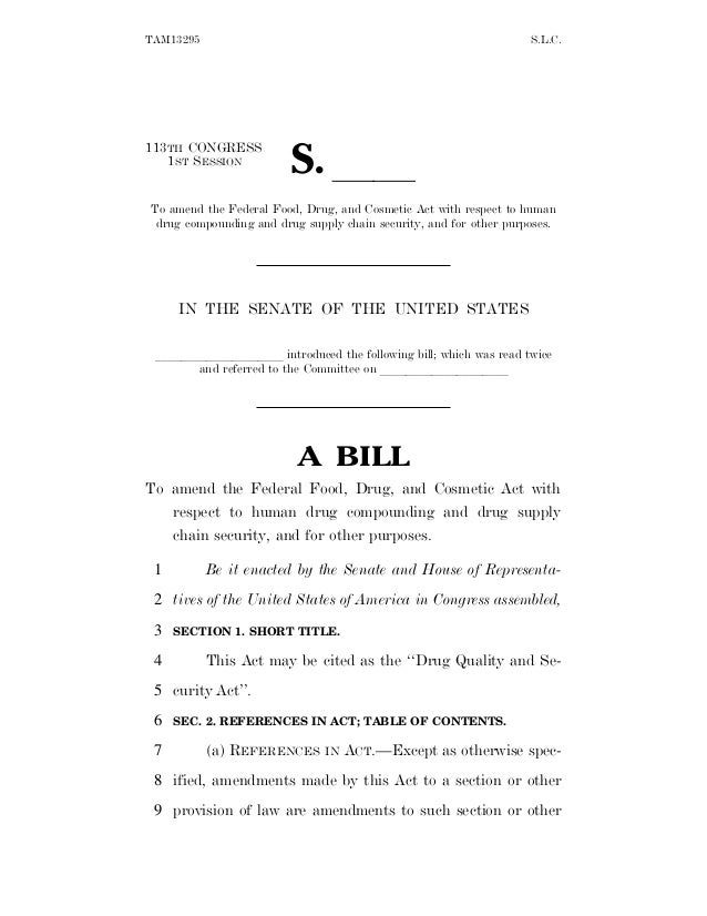 TAM13295 S.L.C. 113TH CONGRESS 1ST SESSION S. ll To amend the Federal Food, Drug, and Cosmetic Act with respect to human d...