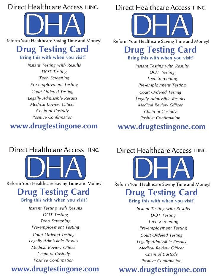 DRUG TESTING PROMOTIONAL CARD