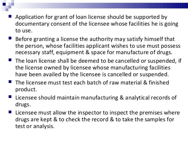 Person licensed to repack drug should observe the following condition. Licensed premises must conform to the requirements...