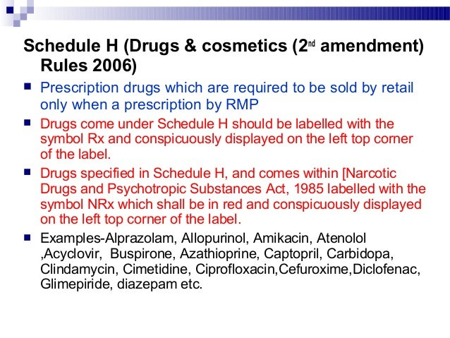 Drugs under schedule H are omitted Drugs under Schedule H1 Alprazolam Thiacetazone Alprazolam Diazepam Cefdinir zolpidem C...