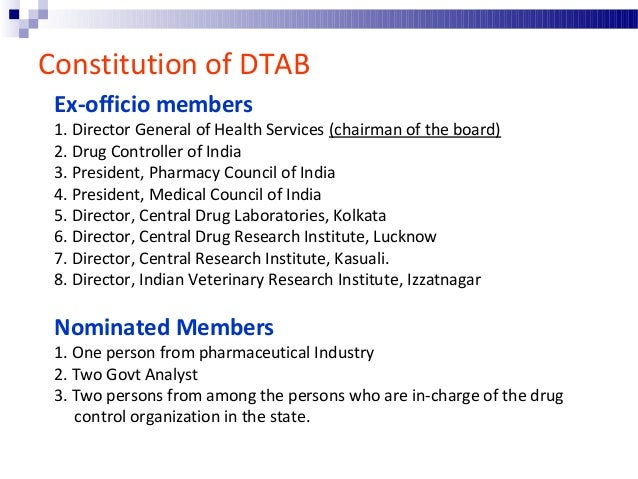 """Drugs Consultative Committee  The Central Government may constitute an advisory committee to be called """"the Drugs Consult..."""