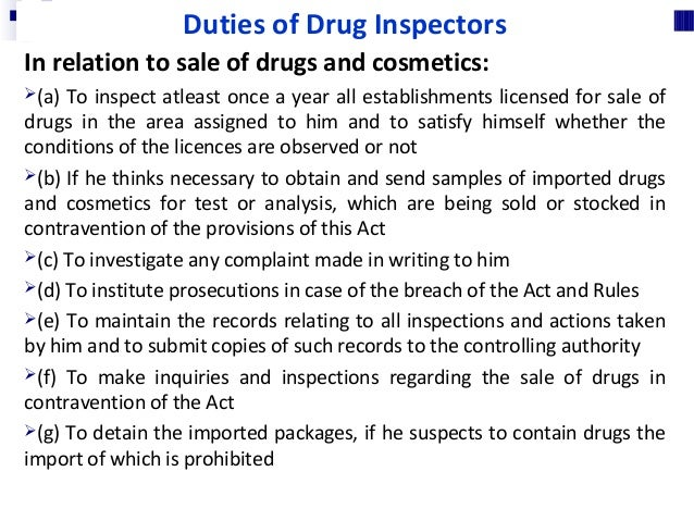 For taking samples of drug and dispatching them to laboratory : 1. Where an Inspector takes any sample of a drug or cosmet...