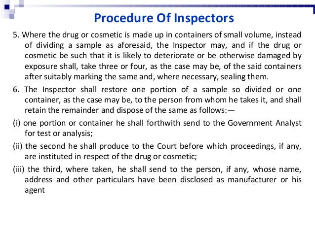  All inspectors at central and state level are under their control.  Qualifications : 1. He is a graduate in Pharmacy / ...