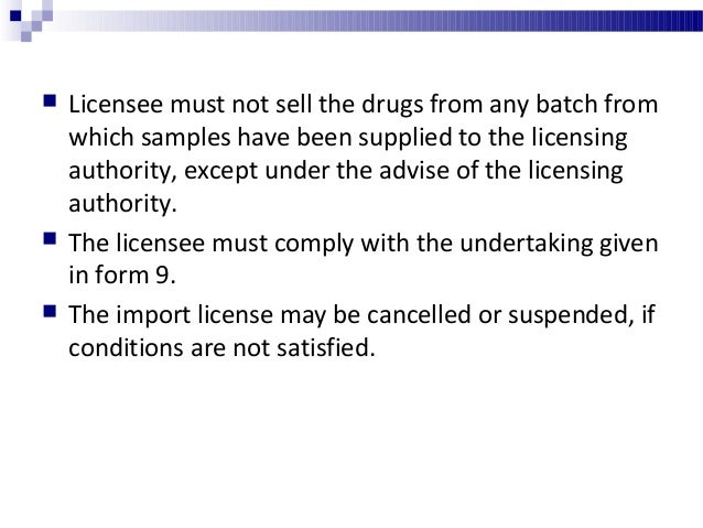 Import of small quantities of drug for examination, test or analysis  Small quantities of drugs, the import of which is p...