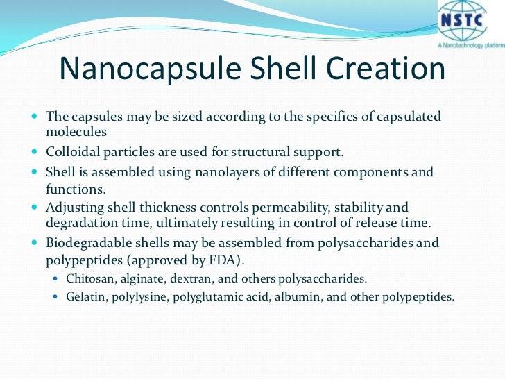 Benefits of Nanocapsules<br /><ul><li>Ultrasound-triggered release from capsule</li></li></ul><li>Nanocapsule Shell Creati...