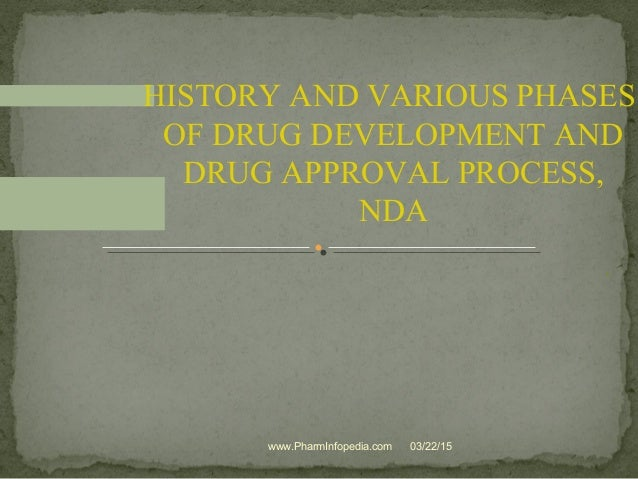 . HISTORY AND VARIOUS PHASES OF DRUG DEVELOPMENT AND DRUG APPROVAL PROCESS, NDA 03/22/15www.PharmInfopedia.com