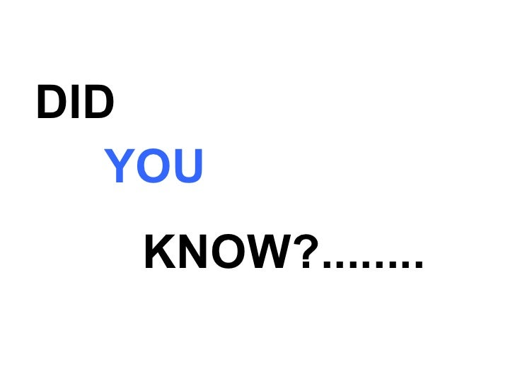 DID  YOU KNOW?........