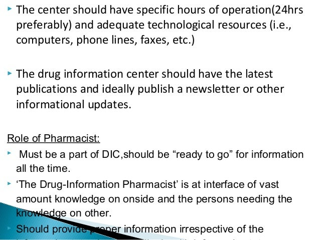 drug information - Drug Information Pharmacist