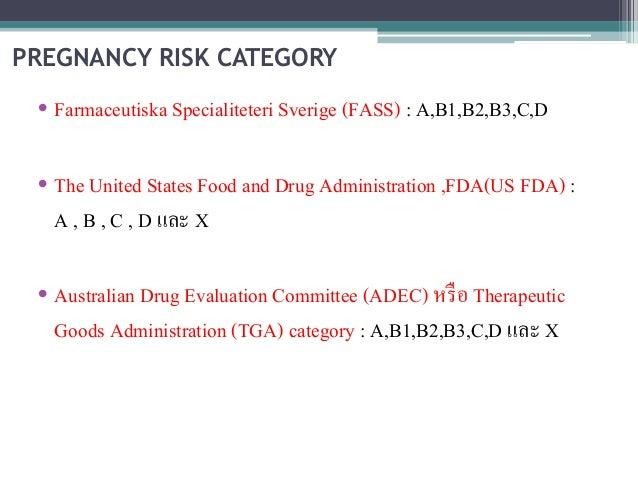 PREGNANCY RISK CATEGORY  • Farmaceutiska Specialiteteri Sverige (FASS) : A,B1,B2,B3,C,D  • The United States Food and Drug...