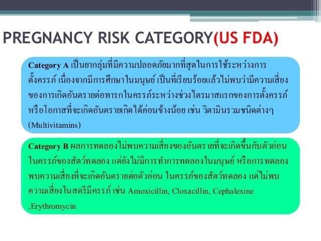 PREGNANCY RISK CATEGORY(US FDA)  Category A เป็นยากลุ่มที่มีความปลอดภัยมากที่สุดในการใช้ระหว่างการ  ตั้งครรภ์ เนื่องจากมีก...