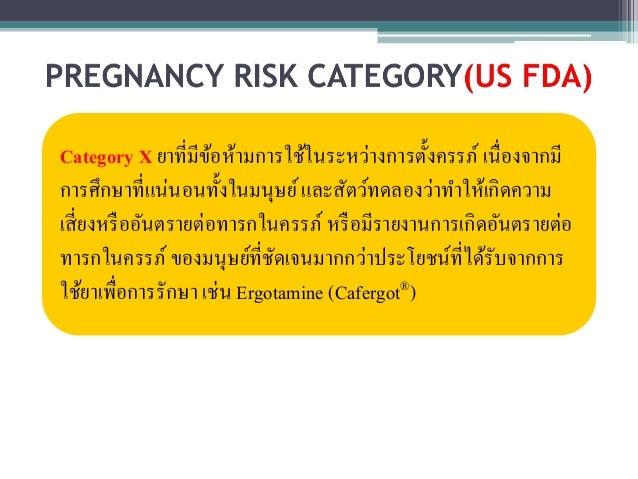 Category X ยาที่มีข้อห้ามการใช้ในระหว่างการตั้งครรภ์ เนื่องจากมี  การศึกษาที่แน่นอนทั้งในมนุษย์ และสัตว์ทดลองว่าทา ให้เกิด...