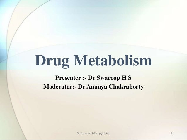 1  Drug Metabolism  Presenter :- Dr Swaroop H S  Moderator:- Dr Ananya Chakraborty  Dr Swaroop HS copyighted