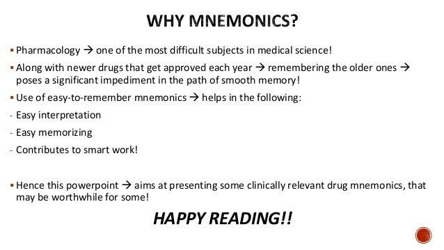 Drug mnemonics; by RxVichuZ! ;) Slide 2