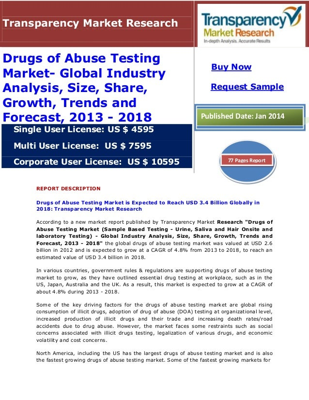 REPORT DESCRIPTION Drugs of Abuse Testing Market is Expected to Reach USD 3.4 Billion Globally in 2018: Transparency Marke...