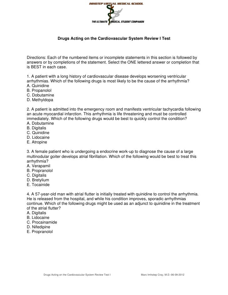Drugs Acting on the Cardiovascular System Review I TestDirections: Each of the numbered items or incomplete statements in ...