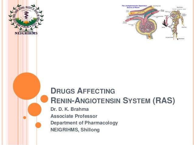 DRUGS AFFECTING RENIN-ANGIOTENSIN SYSTEM (RAS) Dr. D. K. Brahma Associate Professor Department of Pharmacology NEIGRIHMS, ...