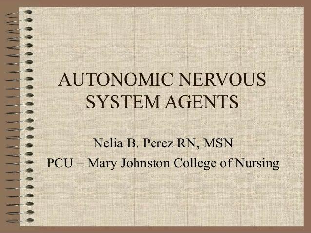 AUTONOMIC NERVOUS   SYSTEM AGENTS      Nelia B. Perez RN, MSNPCU – Mary Johnston College of Nursing