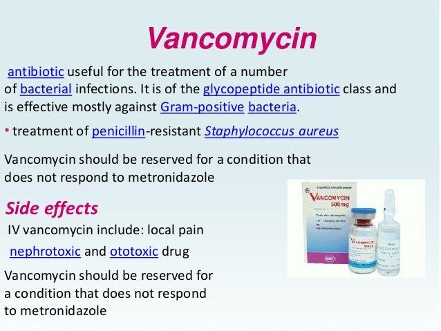 Side effects of drug vancomycin