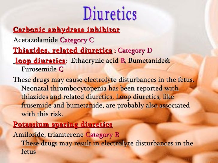 <ul><li>Carbonic anhydrase inhibitor </li></ul><ul><li>Acetazolamide  Category C </li></ul><ul><li>Thiazides, related diur...