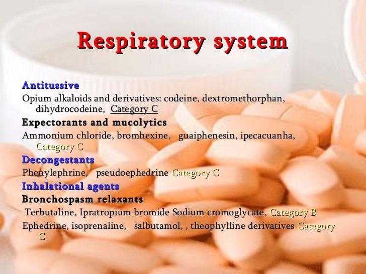 Respiratory system <ul><li>Antitussive </li></ul><ul><li>Opium alkaloids and derivatives: codeine, dextromethorphan, dihyd...