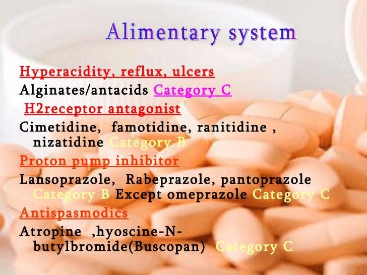 <ul><li>Hyperacidity, reflux, ulcers </li></ul><ul><li>Alginates/antacids  Category C </li></ul><ul><li>H2receptor antagon...