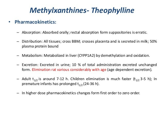 Methylxanthines- Theophylline• Pharmacokinetics:– Absorption: Absorbed orally; rectal absorption form suppositories is err...