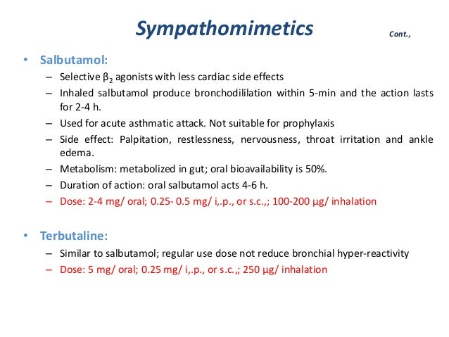 Salbutamol Side Effects Asthma