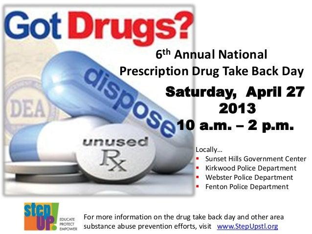 6th Annual NationalPrescription Drug Take Back DaySaturday, April 27201310 a.m. – 2 p.m.Locally… Sunset Hills Government ...