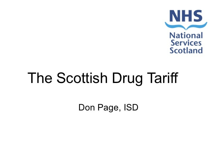 The Scottish Drug Tariff Don Page, ISD