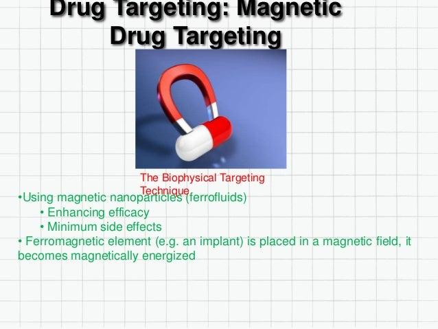 Drug Targeting: Magnetic Drug Targeting •Using magnetic nanoparticles (ferrofluids) • Enhancing efficacy • Minimum side ef...