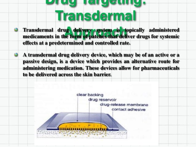 Transdermal Approach Continuing: In theory, transdermal patches work very simply. A drug is applied in a relatively high d...